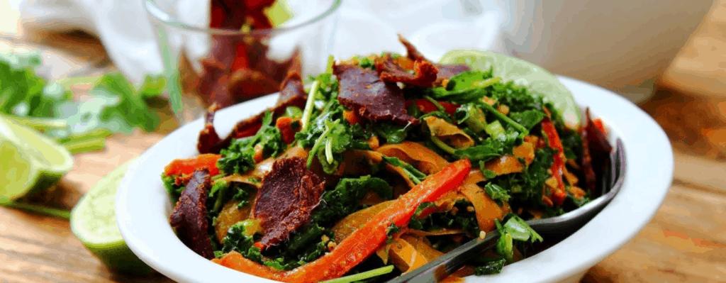 Biltong and Kale Satay Salad