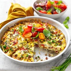 Easy Frittata with Biltong, Veggies & Feta